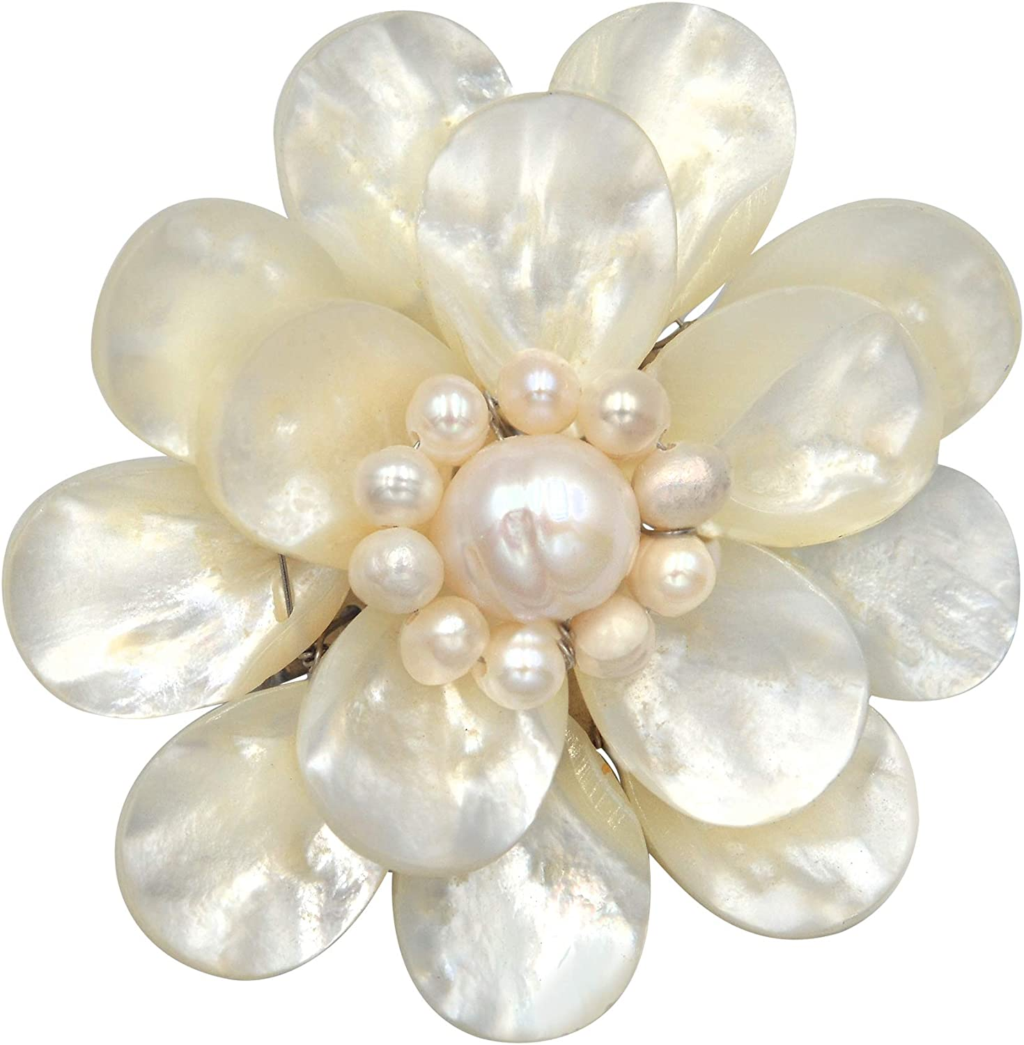 Pure Lotus White Mother of Pearl & Cultured Freshwater White Pearl Floral Pin or Brooch