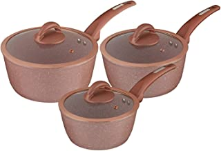 Tower T81212RS Rose Edition Forged Aluminium 3 Piece Saucepan Set with Cerastone Coated Non-Stick Interior, Rosepink