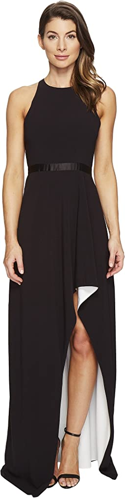 Halston Heritage - Sleeveless High Neck Color Blocked Gown w/ High-Low Skirt