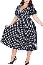 SNOWSONG Womens Plus Size Dresses Wrap V Neck Swing A-Line Beach Short Sleeve Belted Empire Waist Bohemian Party Maxi Dress