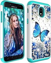 Galaxy J7 2018 Case with Screen Protector,Galaxy J7 Star/J7 Aura/J7 Aero/J7 Top/J7 Crown Glitter Sparkle Bling Studded Rhinestone Crystal Hybrid Dual Layer Armor Case Blue Floral Butterly Flowers