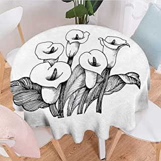Linhomedecor Polyester Round Tablecloth Calla Lily,Sketch Artwork with a Bouquet of Tropical Blossoms Botanical and Romantic,Black and White Wrinkle Free Tablecloths Diameter 50 inch