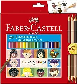 Lápis de Cor Ecolápis Caras & Cores 24 Cores + 3 Tons de Pele, Faber-Castell
