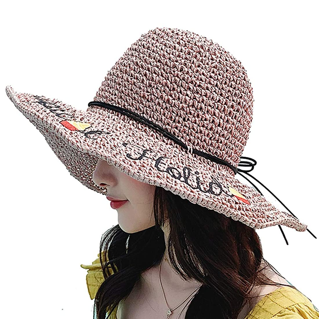 聴覚シュガーうまUVカット帽子 太陽の帽子セルロース繊維手織り刺繍文字装飾女性太陽の帽子ビーチサンシェード折りたたみ式調節可能なUV春夏の太陽の帽子 UVカット帽子 (Color : Pink, Size : Head 54-58cm)