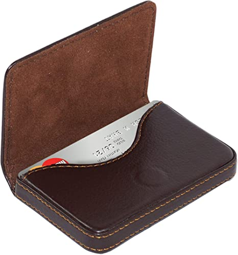 NISUN Imported Leather Pocket Sized Business/Credit/ATM Card Holder case Wallet with Magnetic Shut for Gift Brown (Horizontal Flap Shape) product image