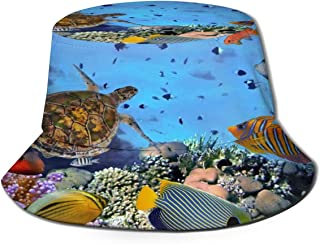 Fisherman Hat Colorful Coral Reef Sea Turtle Fish Bucket Hat Unisex 3D Printed Packable Bonnie Cap UV Protect Lightweight Sun Hat for Picnic Hunting Fishing Golf Hiking