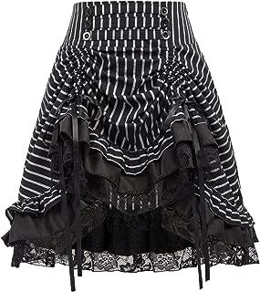 KANCY KOLE Womens Gothic Steampunk Vintage Skirt Asymmetrical High Low Dress