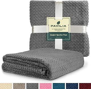 PAVILIA Luxury Soft Plush Dark Grey Throw Blanket for Sofa, Couch | Velvet Fleece Chevron Textured Throw | Cozy Lightweight Microfiber, Reversible Charcoal Gray Blanket | All Season | 50 x 60 Inches