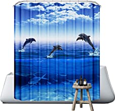 Neween Shower Curtains 3D Digital Printed Waterproof Washable Bathroom Curtain 100% Polyester Fabric Bath Curtain with 12 ...