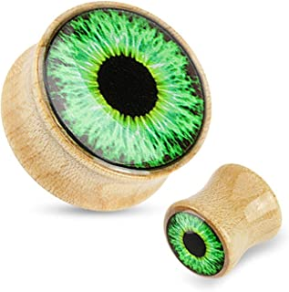 Green Eyeball Print Dome Top Maple Wood Saddle Plugs (Sold as a Pair)