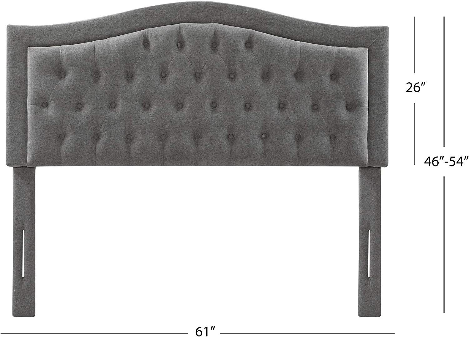 Grey Abbyson Living Full//Queen Size Fabric Upholstered Headboard with Button Tufting