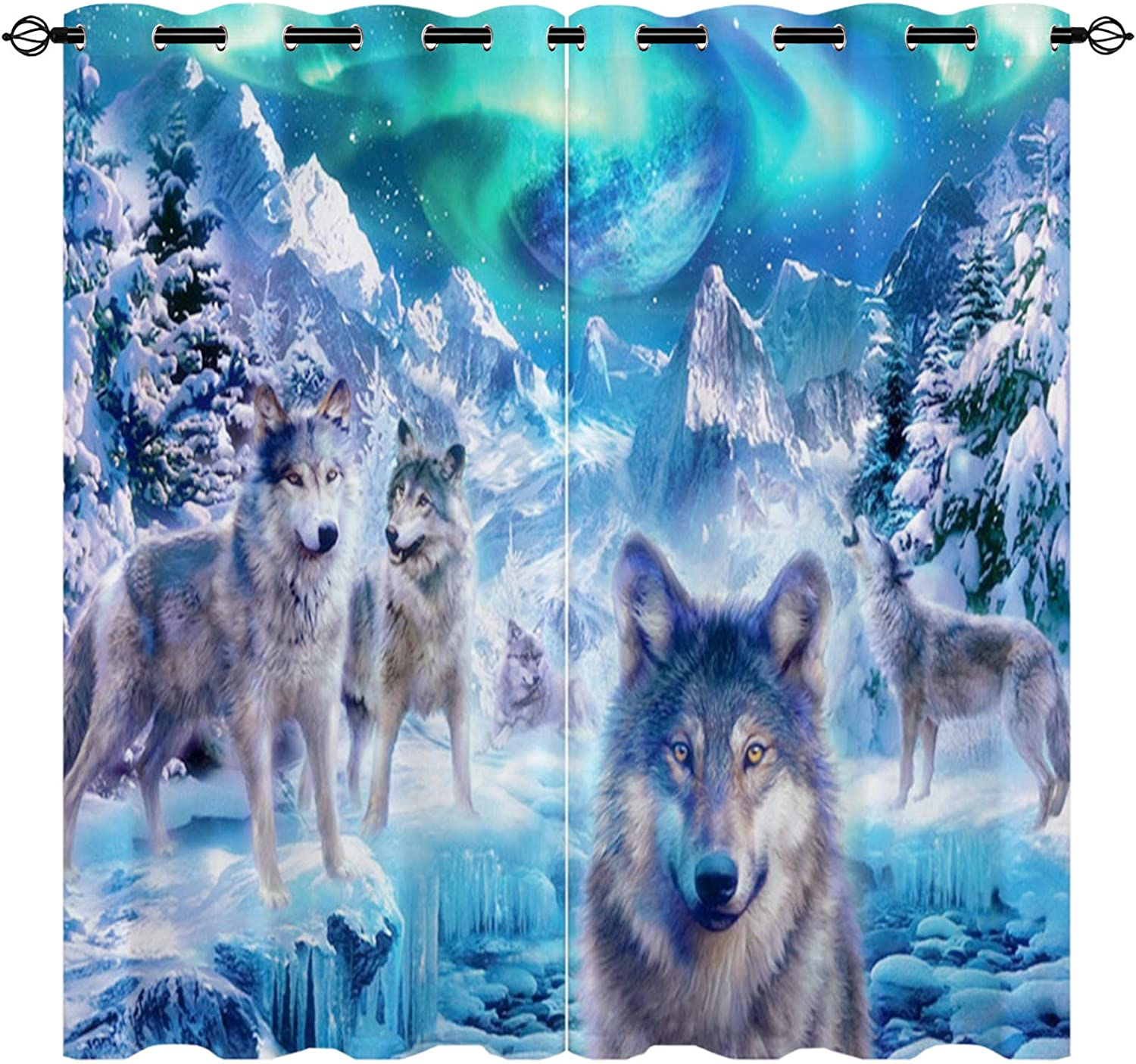 Eiichuang Wolf Blackout Curtains Galaxy Win Star Earth Sky Blue Max 51% OFF Free shipping anywhere in the nation
