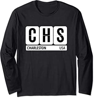 CHS Charleston SC USA Travel Souvenir Black Text Long Sleeve T-Shirt