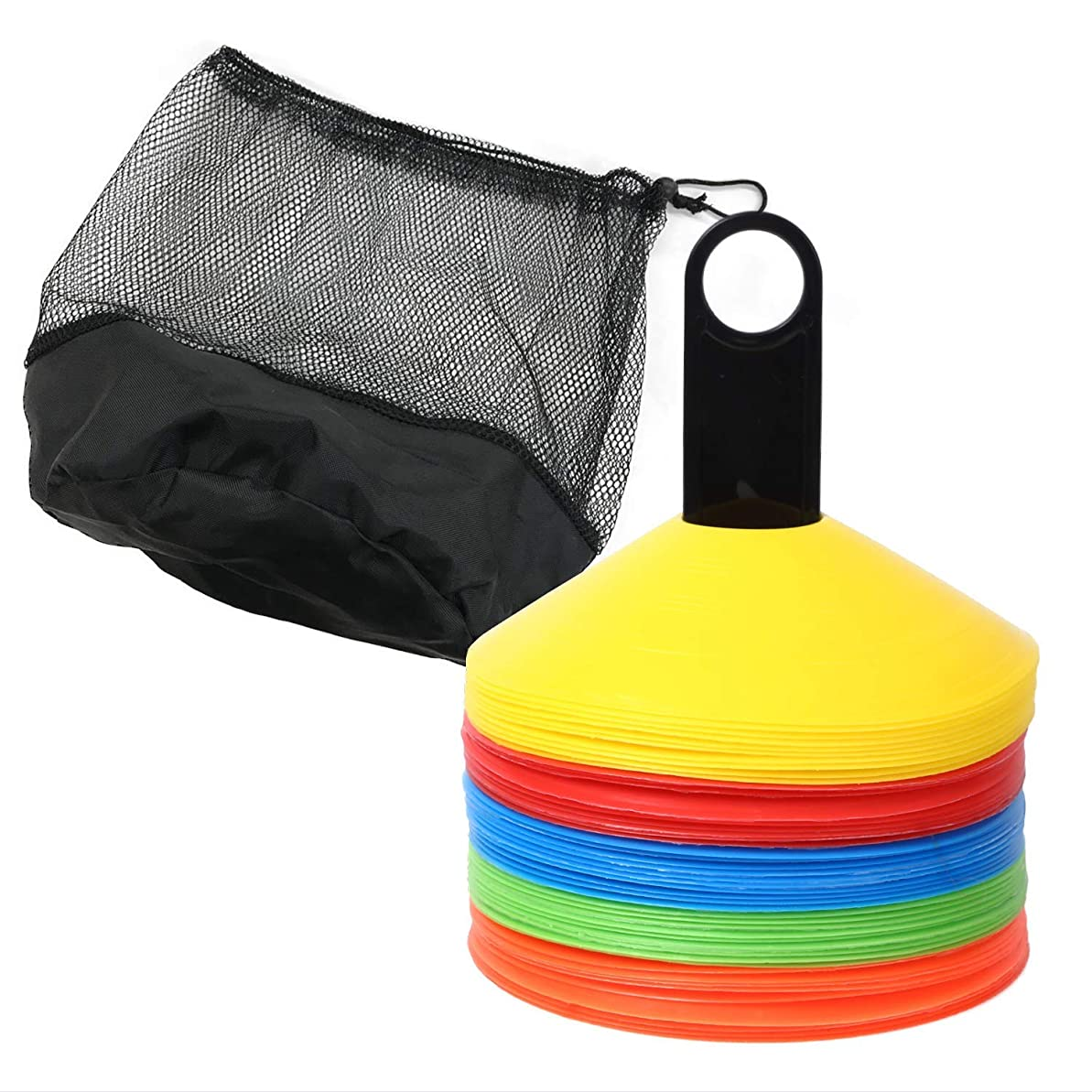 オリエンテーション鉛筆一般LIBERPASS マーカーコーン 50枚セット 収納ネット付 ディスクコーン 三角コーン サッカー フットサル 練習