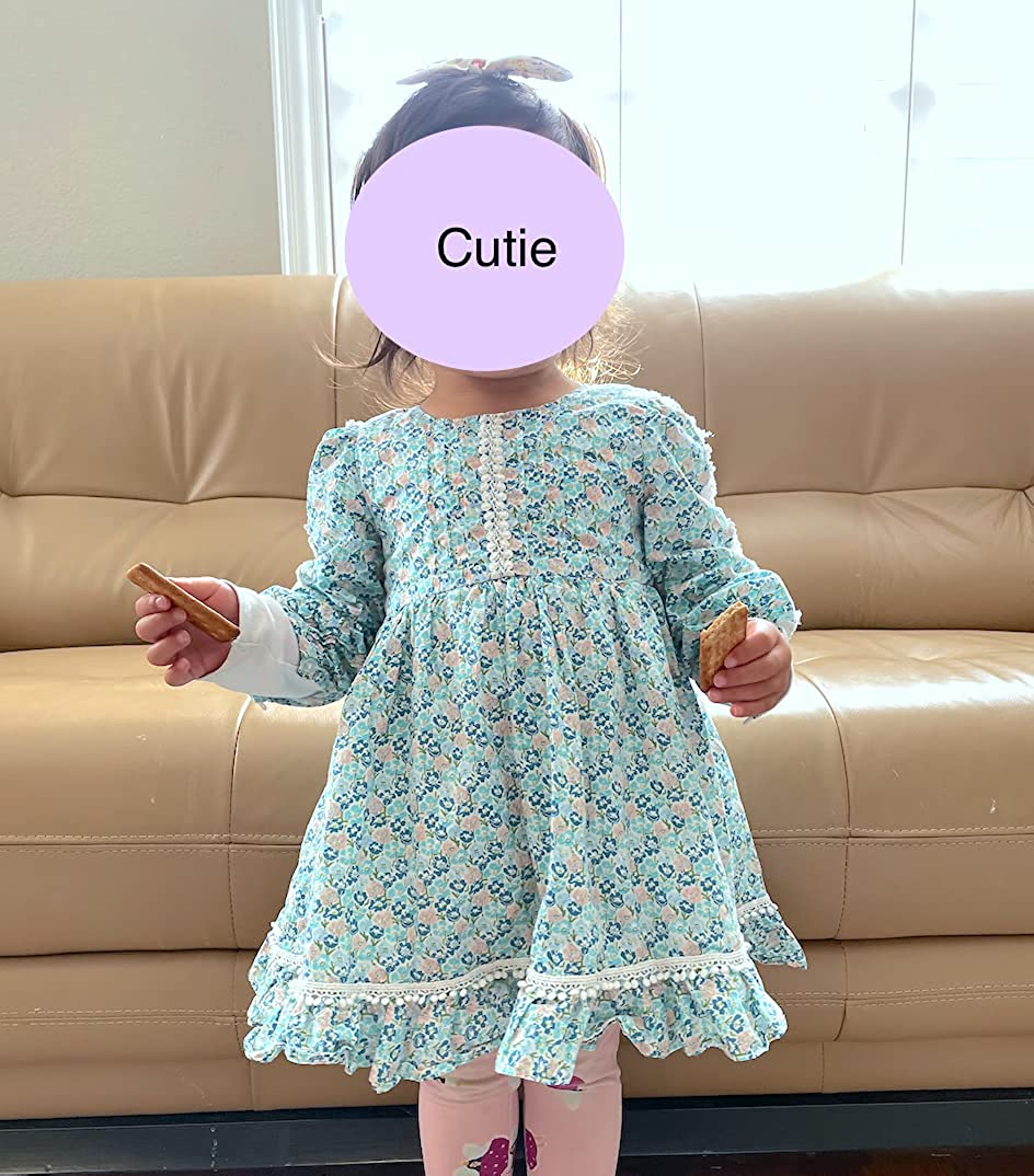 Me Bloom Long Sleeve Floral Fully Lined Lightweight Flowy Boutique 100% Cotton Dress for Toddler Baby Girls Kids 2-6T