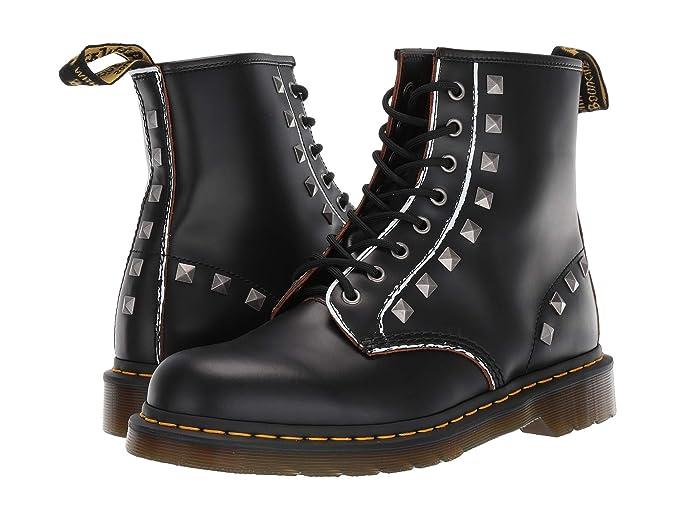 Vintage Boots- Buy Winter Retro Boots Dr. Martens 1460 Stud Core Applique Black Rolled Vintage Smooth Shoes $159.95 AT vintagedancer.com