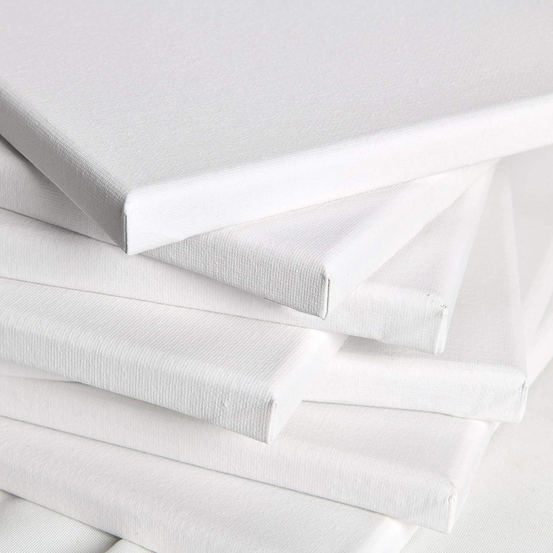 Artina Akademie 2er Set 40x40cm Leinwand aus 100/% Baumwolle auf stabilem FSC/® Keilrahmen 2-Fach wei/ß vorgrundierte Leinwand zum Bemalen 280 g//m/²