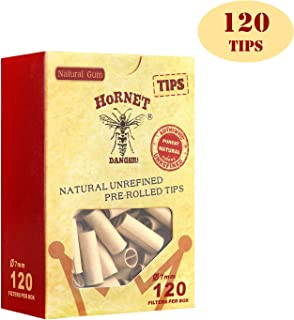HORNET Unbleached Pre-Rolled Tips, Unrefined and Raw Cigarette Filters, Ø7mm Slim Rolling Paper Tips (120 Tips)