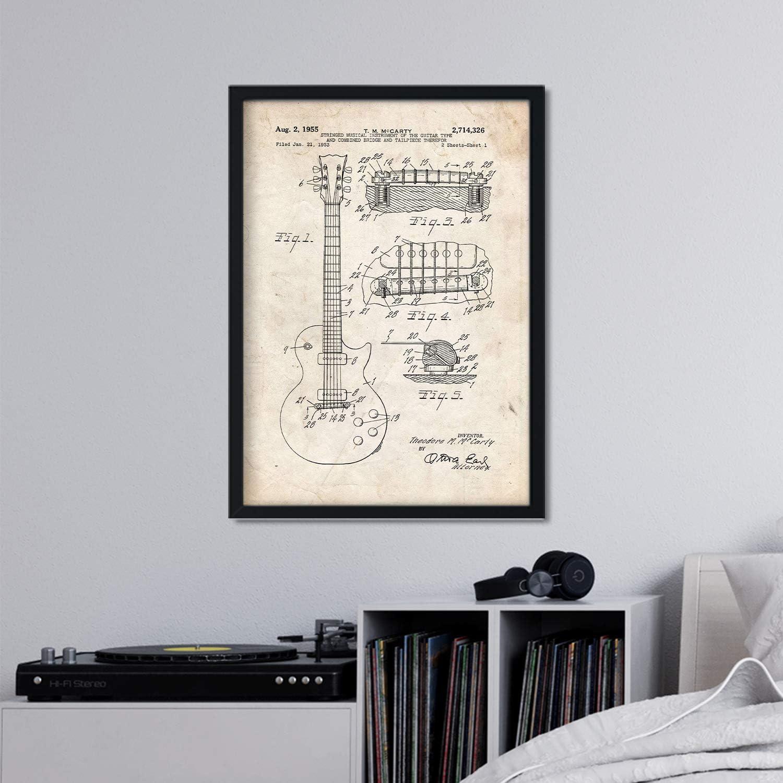 lámina vintage con patente de guitarra