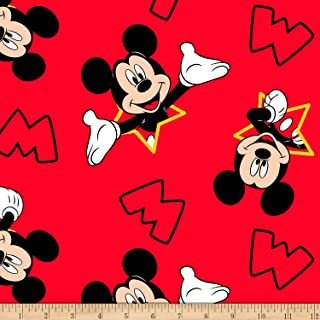 Disney Mickey and Stars Fleece Red Fabric by the Yard