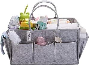 Hinwo Baby Felt Diaper Caddy Triple Infant Nursery Shopping Bag Portable Auto Organizer Newborn Shower Gift Basket avec sé...