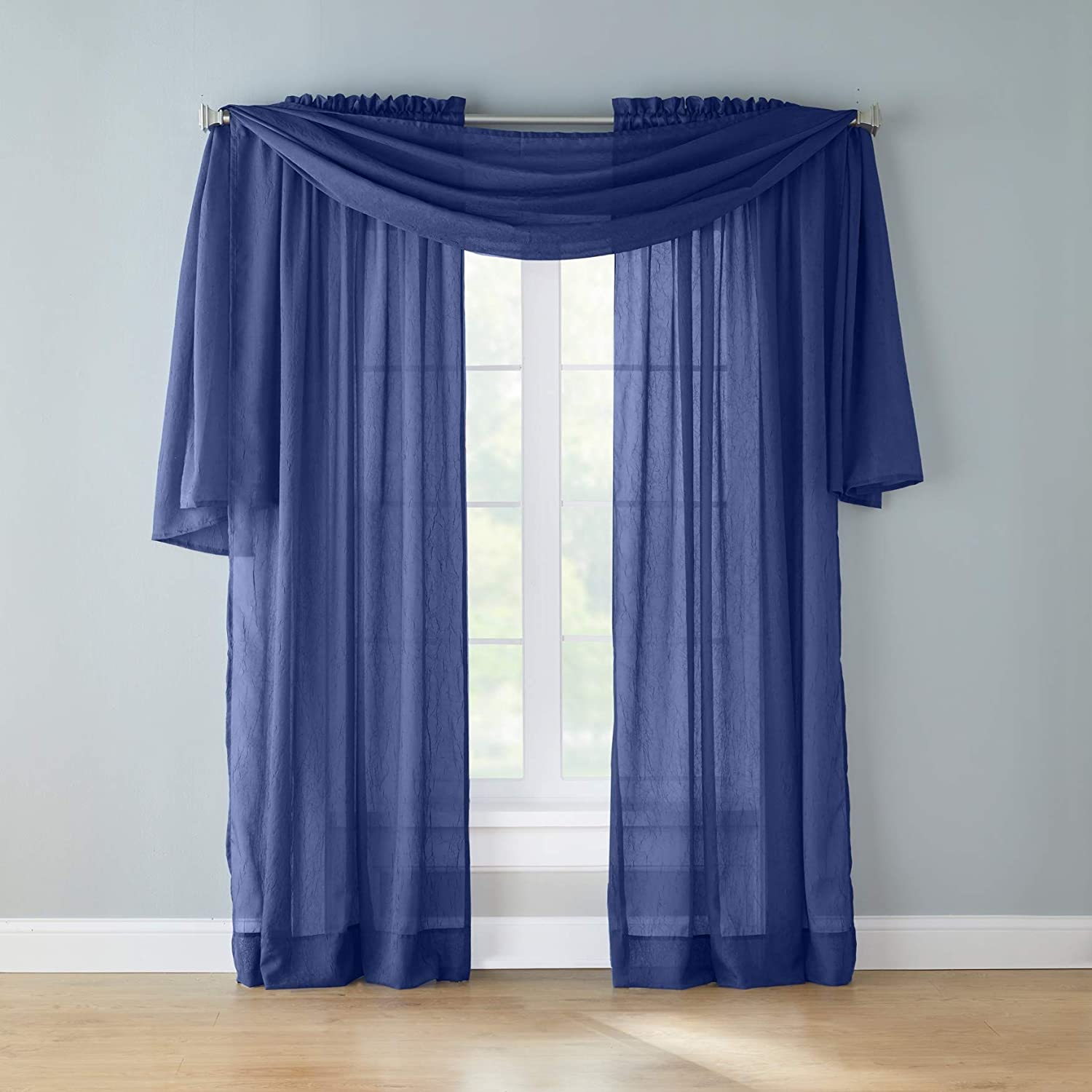 Amazon Com Brylanehome Crushed Voile Scarf Valance Blue Home Kitchen