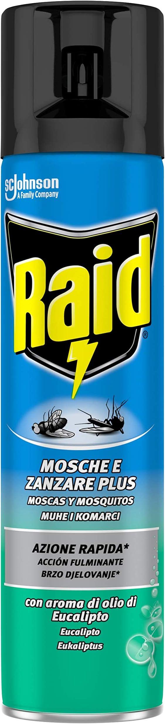 472 opinioni per Raid Spray Mosche e Zanzare Plus Eucalipto, 400ml