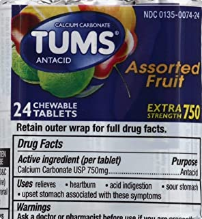 TUMS Extra Strength 750 Tablets, Assorted Fruit - 24 Tablets Per Pack (Pack of 3)