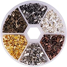 ARRICRAFT 500pcs Folding Crimp Ends Cord End Tips Unclosed Jewelry Makig Fasteners for Leather Cord 8x4mm