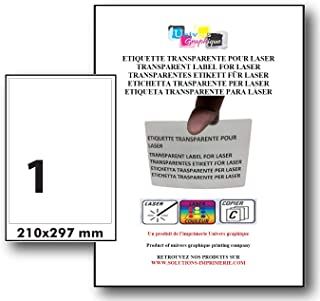 Stickers Transparents BRILLANT pour imprimante laser. 10 planches A4, autocollant, étiquette synthétique plastique autocol...