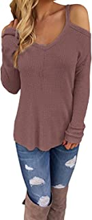CNFIO Women's Cold Open Shoulder Tops Plain Shirts V Neck Long Sleeve Tee Knitted Loose Casual Blouses