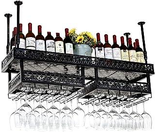 Ybzx Présentoir de Tasse de vin à l'envers Porte-Bouteilles Suspendu réglable en Hauteur Industriel à 2 Niveaux verrerie l...