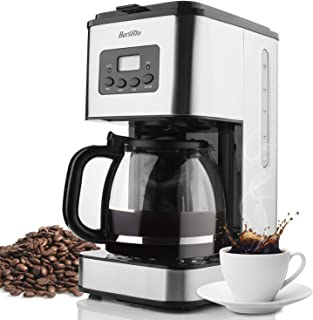 Barsetto 10-Cup Classic Thermal Programmable Coffee Maker With Glass Carafe, Stainless Steel.