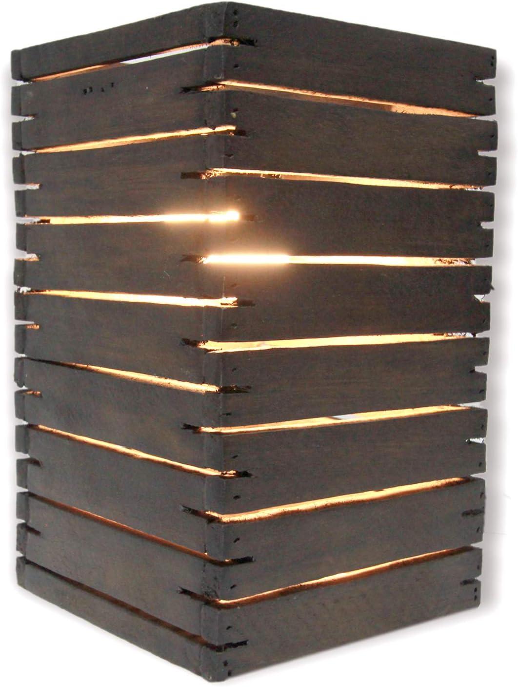 FAI Wood New sales Handmade Dallas Mall Natural Slat Oak-Stain 10. Lamp Table Brown