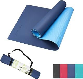 TOPLUS 瑜伽墊 6毫米 瑜伽墊 tpe 訓練墊 彈力墊 鍛煉墊 普拉提墊 防滑 減震 隔音 yoga mat 人氣 折疊 肌肉訓練墊 附件:收納用橡膠帶
