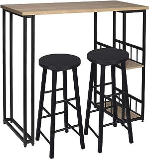 WOLTU 1 Mesa de Bar + 2 Taburete de Bar Mesa de Bistro Sillas y Mesa de Comedor, con 2 Estantes, Estructura de Metal, MDF, 120x50x105cm (WxDxH) Roble BT25hei+BH130sz-2