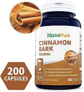 Cinnamon Bark 1000mg 200caps (Non-GMO & Gluten Free) Natural Anti-Bacterial & Anti-Microbial Properties