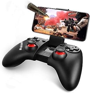 ゲームパッド Bluetooth コントローラー iOS/Android対応 ワイヤレス 荒野行動PUBG Mobile対応 スマホコントローラー グリップ式 連射機能搭載 ダブルジョイスティック スマホゲームパッド 日本語取扱説明書付き