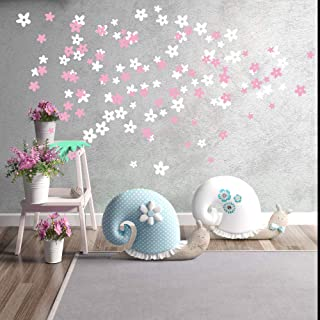 MAFENT Cherry Blossom Flowers Wall Decal for Tree Wall Decor Room Decoration (Pink and White)