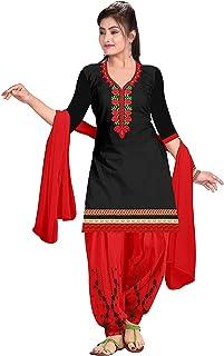 Ethnicset Women's Cotton Unstitched Salwar Suit (saheli-black-E_Black_Free Size)