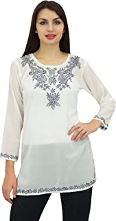 Phagun Women's Top Tunic Floral Embroidery Full Sleeve Custom Blouse
