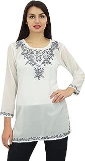 Phagun Women's Top Tunic Floral Embroidery Full Sleeve Custom Blouse
