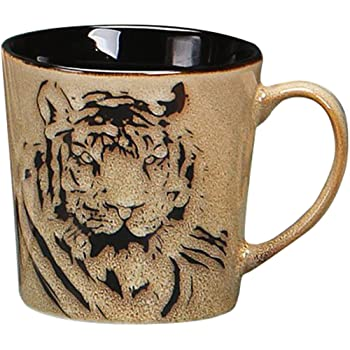 Personalized Name Tiger Coffee Mug Watercolor Floral Wild Animal Mug Gift Mug