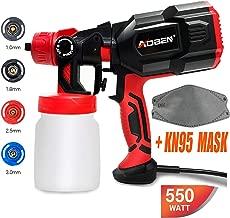 AOBEN Paint Sprayer, 550 Watt High Power HVLP Spray Gun, with 3 Spray Patterns, 4 Nozzle..