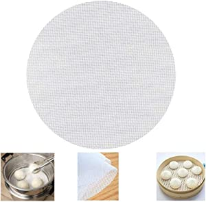 Reusable Non-stick Silicone Steamer Mesh 10 inch Bamboo Silicone Steamer Mat Double Side Use| Easy to Clean Dim Sum Mesh| Round, 6 Pack, White, 10''