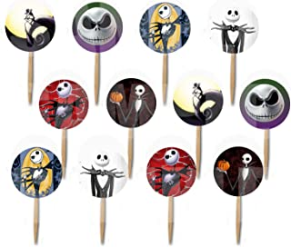 Party Over Here Jack Skellington Double-Sided Cupcake Picks Cake Toppers -12 pcs, Nightmare Before Christmas, Halloween Skeleton