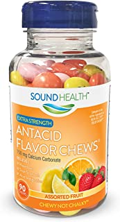 SoundHealth Extra Strength Antacid Chews for Heartburn Relief, Assorted Fruit Flavor, 90 Count