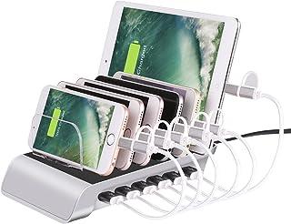 6 Port USB Charging Station Universal Desktop Tablet & Smartphone Multi-Device Hub Charging Dock for iPhone, iPad, Galaxy,...