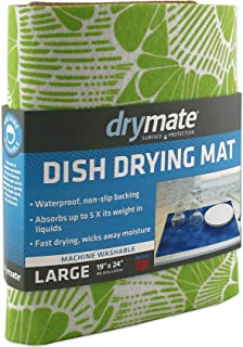 Drymate Dish Drying Mat, Premium XL (19 Inches x 24 Inches) Kitchen Dish Drying Pad – Absorbent/Waterproof – Machine Washable (Made in the USA) (Surf Green 3)