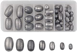 Assorted Egg Sinker Weights Kit - Assorted Sizes Saltwater Fishing Weights-Total 18.6OZ 42pcs Worm/Bell/Bass Casting Hollo...